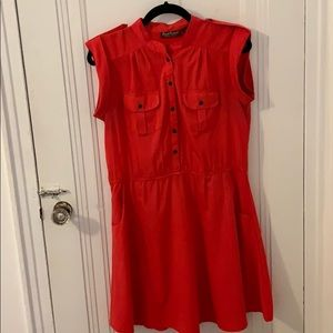 Coral dress with pockets